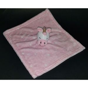 HB Unicorn Lovey Pink White Stars Plush Baby AS IS